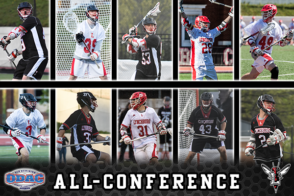 Collage of action photos of the 10 All-ODAC Lynchburg men's lacrosse players. Logos: ODAC, Lynchburg Hornet. Text: All-Conference.