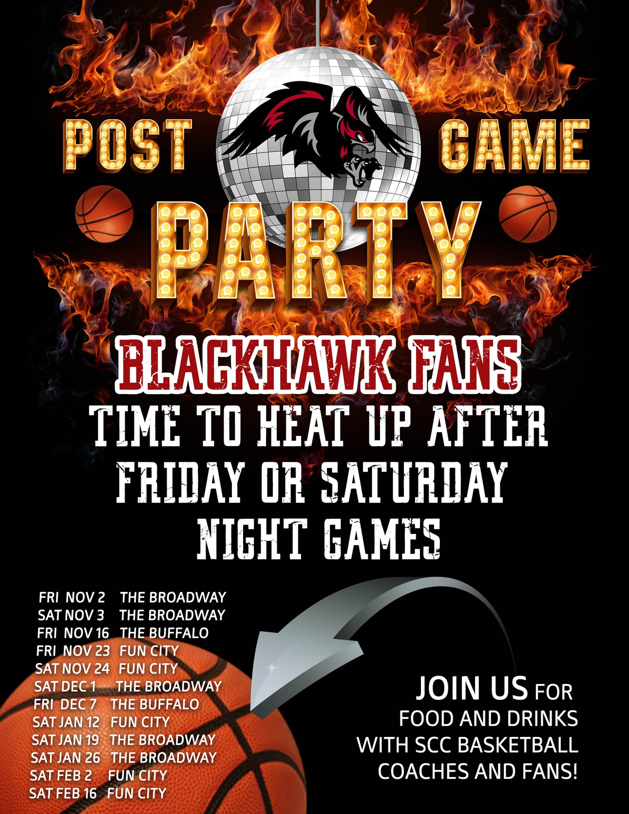 Men's Basketball to Host Post Game Parties