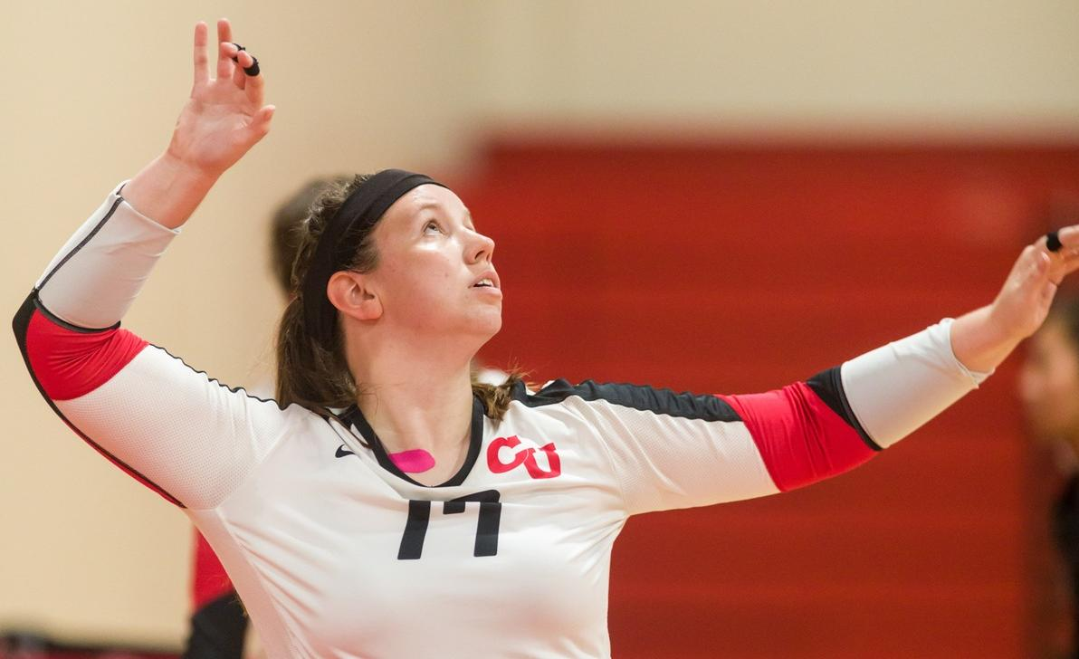Volleyball Shuts Down Emerson in NEWMAC Victory, 3-1