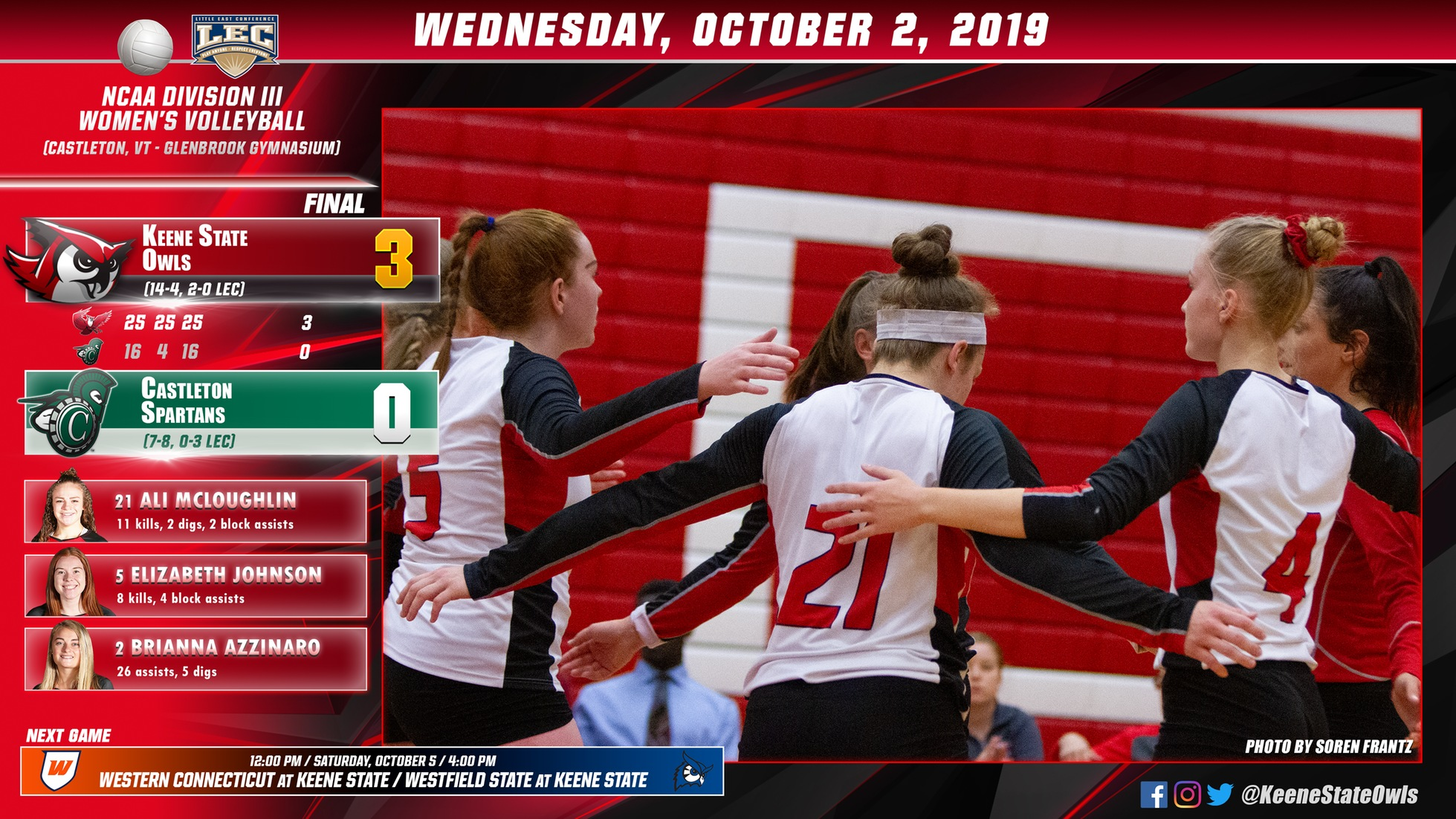 Volleyball Owls Sink Spartans, 3-0
