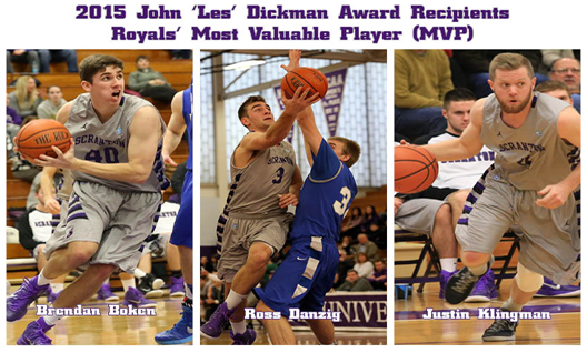 Junior Brendan Boken (left) and seniors Ross Danzig (center) and Justin Klingman (right) will receive the 62nd annual John 'Les' Dickman award as the Royals' most valuable players (MVP) before tip-off of Wednesday's game against Susquehanna at the Long Center at 7 pm.