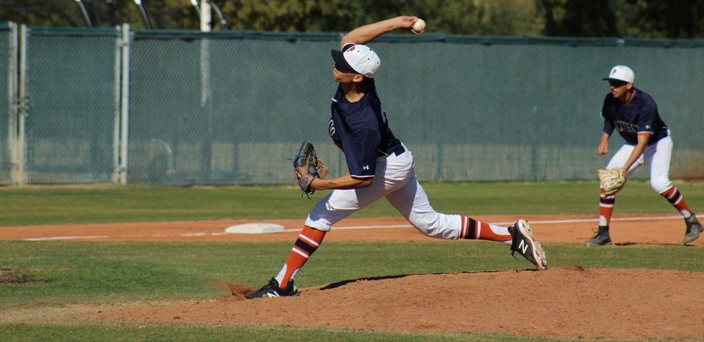 Freshman Adam Moraga (Sunnyside HS) pitched a complete-game shutout giving up two hits with four strikeouts and one walk as the Aztecs swept El Paso Community College on Saturday. The Aztecs improve to 8-2 on the season. Photo by Rene Escobar/AztecPress