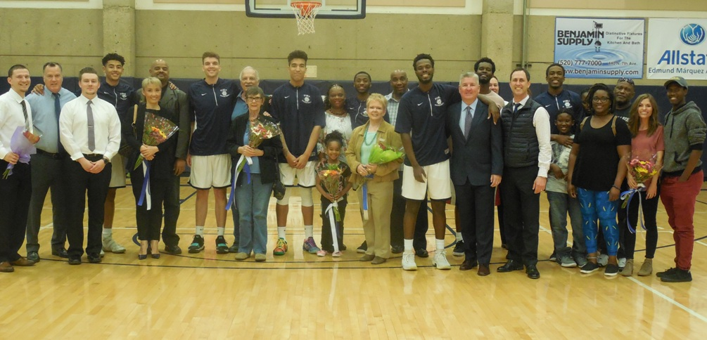 The sophomores were recognized before the game here with their coaches, family and friends. (Pima players Left to right): Isaiah Murphy, Keegan Biggers, Justin Bessard, Ilunga Moise and Keven Biggs. Photo by Raymond Suarez