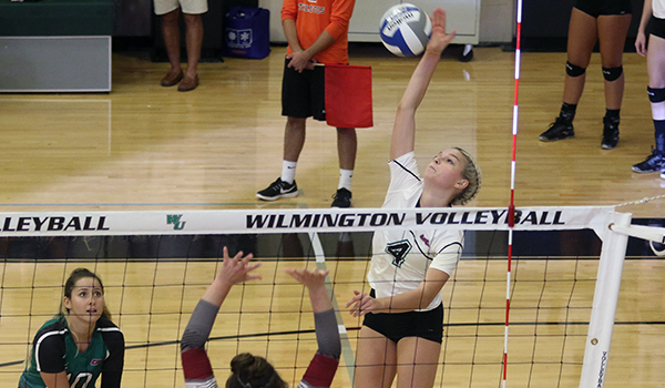 Copyright 2017; Wilmington University. All rights reserved. File photo of Mandy Behiels who led the Wildcats offensive against New Haven, taken by Frank Stallworth.