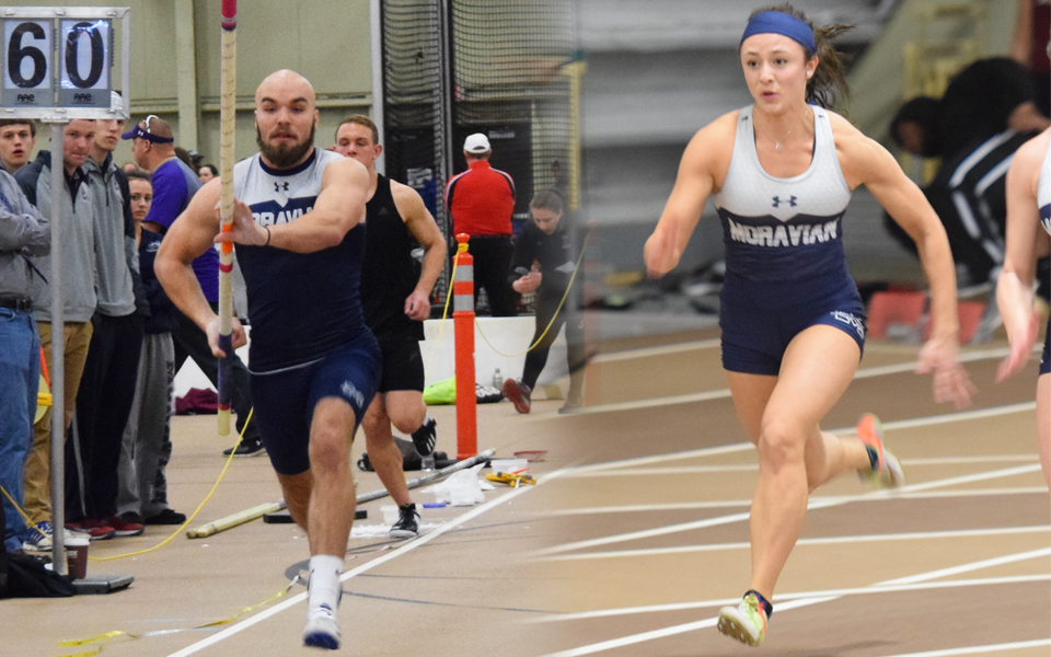 Senior Scott Goodwin and sophomore Camaryn Wheeler compete at Lehigh University's Rauch Fieldhouse during the 2017-28 indoor season