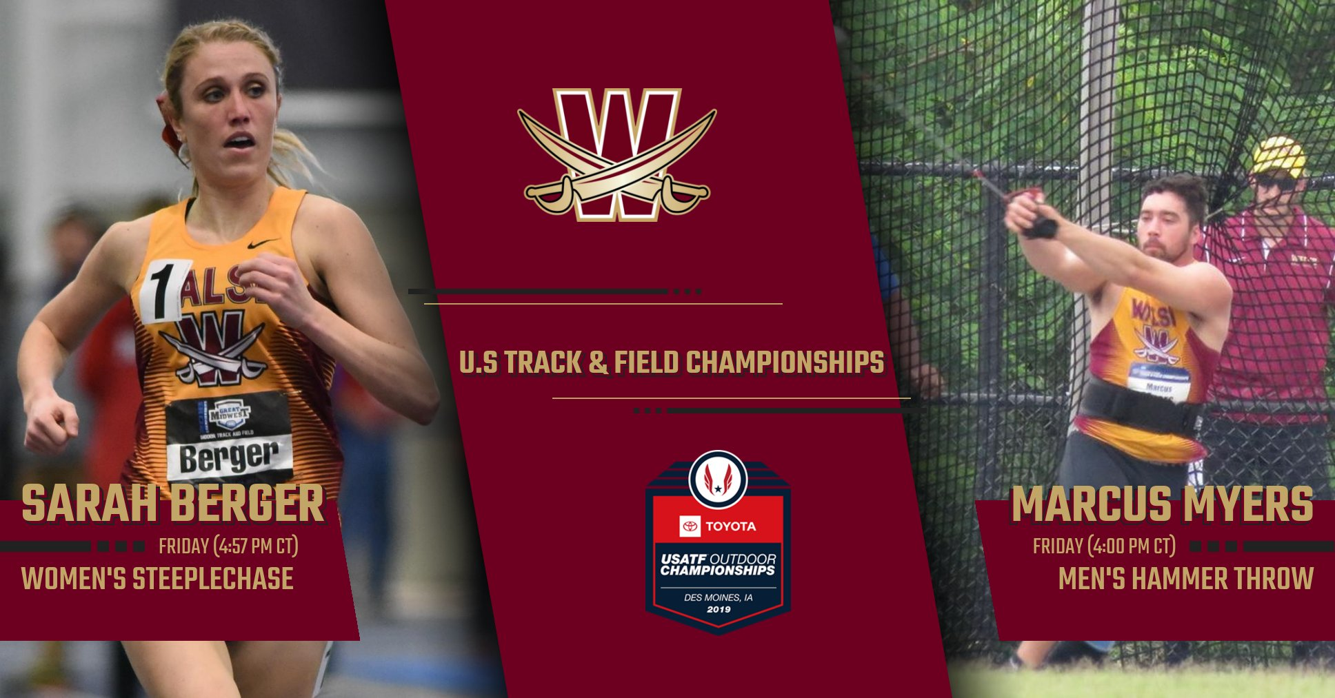Walsh Alumni Berger and Myers Qualified for U.S. T&F Championships