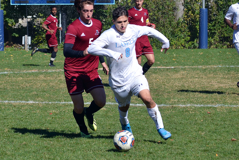 MSOC: Lasell nips Anna Maria in overtime; Stewart scores game-winner for Lasers