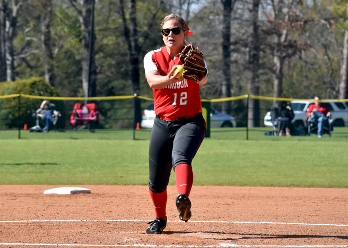 Raina Lanier struck out 10, pitched a complete-game shutout and scored the winning run in the bottom of the eighth inning in a 1-0 win over Covenant. (Photo by Wesley Lyle)