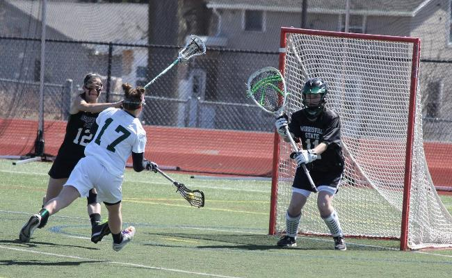 Junior Kaycee Maguire scored three goals and had four groundballs as the Keuka College women's lacrosse team picked up its fourth straight win, knocking off Morrisville State 14-6 Sunday (photo courtesy of Carly Volante, Keuka College Sports Information Department).