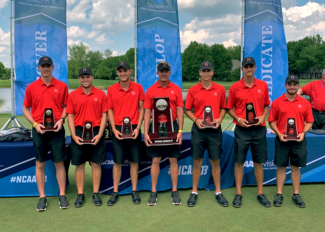 Huntingdon placed second in the NCAA Division III Men's Golf Championships to tie the Hawks' best finish during the NCAA era. Junior Drew Mathers (second from right) and senior Stephen Shephard (far right) each earned first-team All-American honors. (Photo submitted)