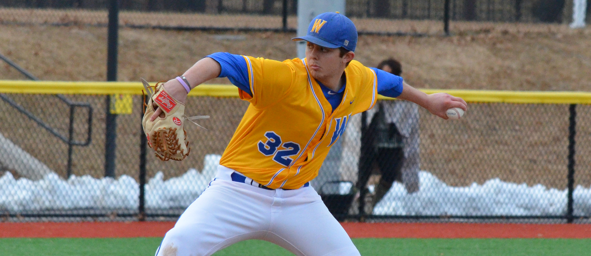 Senior Bob Hamel pitched six strong innings but did not receive a decision in Western New England's season-opening loss to Westfield State on Sunday. (Photo by Dave Caspole / Westfield State Athletics)