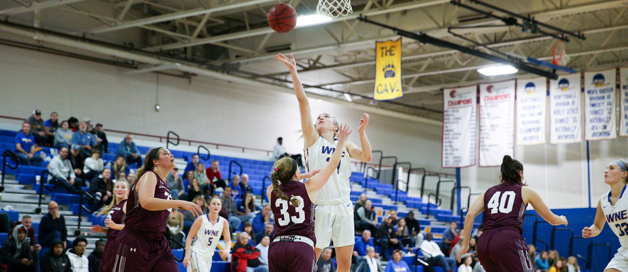 Junior Meghan Orbann posted her fourth career double-double with 14 points and 12 rebounds in Western New England's 58-52 loss to Curry on Saturday. (Photo by Chris Marion)