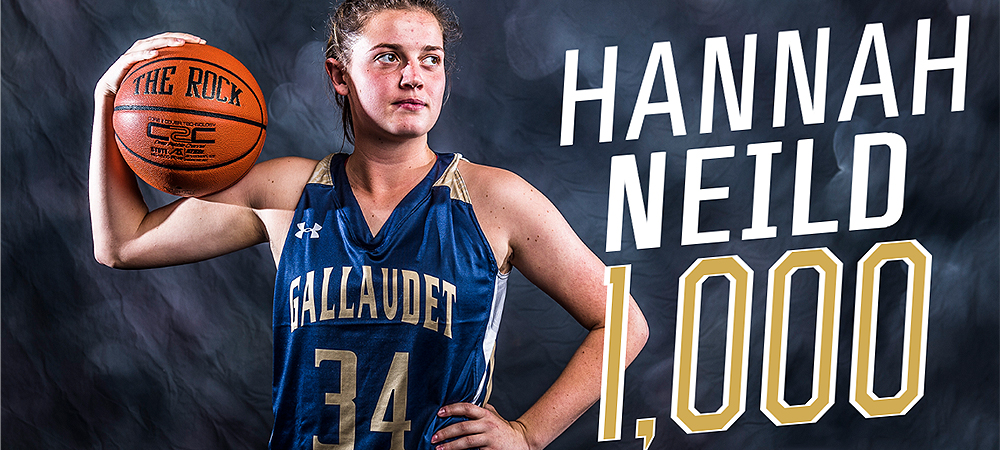 Gallaudet women's basketball player Hannah Neild holds an orange basketball in her right hand pressed against her flexed arm. Her name and 1,000 are designed off to the right.