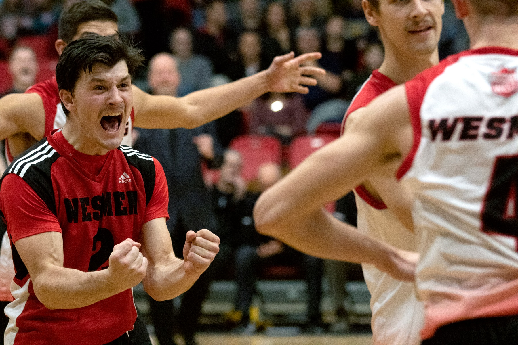 Darian Picklyk celebrates a point with his teammates during the Winnipeg Wesmen's five-set win over the Brandon Bobcats on Saturday, Nov. 9, 2019. (David Larkins/Wesmen Athletics)