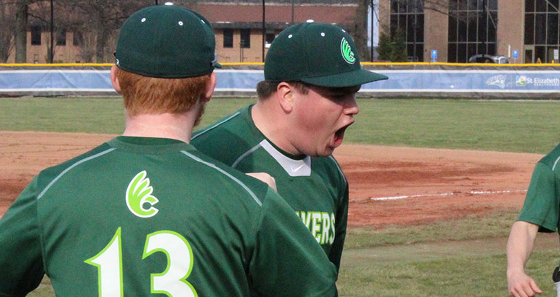Sophomore Joey Hollback yells in excitement after escaping  a fourth-inning jam. (Wilmington Athletic Communications photo)