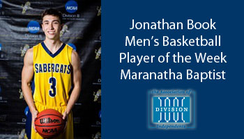Book receives Association of Division III Independents men's basketball Player of the Week award