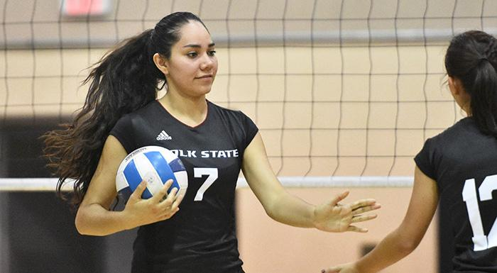 Kathya Garcia made 12 kills and three aces in a win over Indian River State College. (Photo by Tom Hagerty, Polk State.)