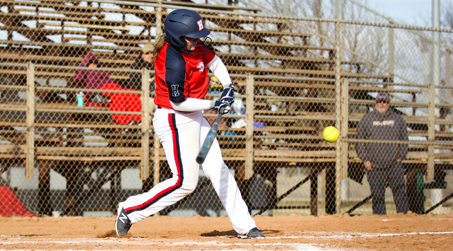 Taylor Ullery drives a two-run base hit in the bottom of the sixth inning to help the Blue Dragons defeat Cloud County 6-4 in Game 1 on Wednesday at Fun Valley. The Dragons completed the sweep in Game 2, 6-1. (Bre Rogers/Blue Dragon Sports Information)