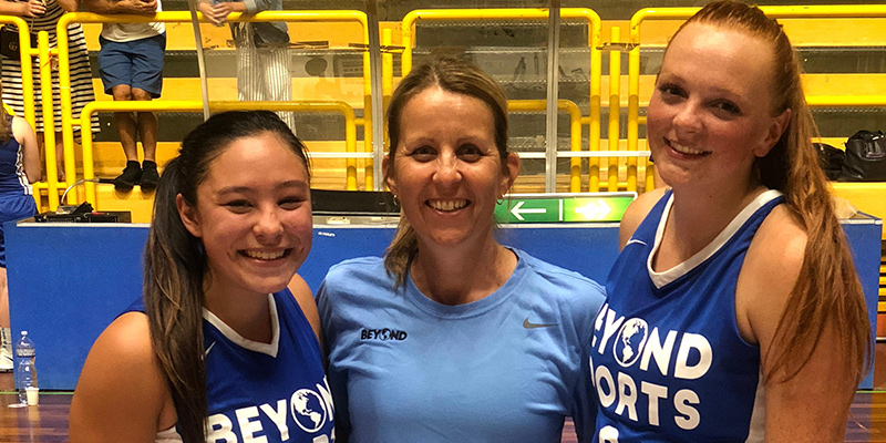 Drew Farmer (Jr., PG, Brookings, OR/Brookings-Harbor HS), left, Head Coach Peg Swadener, middle, and Britanny Kochenderfer (Sr., G, Klamath Falls, OR/Henley HS/Idaho State Univ.)