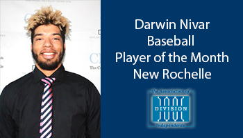 Nivar receives Association of Division III Independents baseball Student-Athlete of the Month award