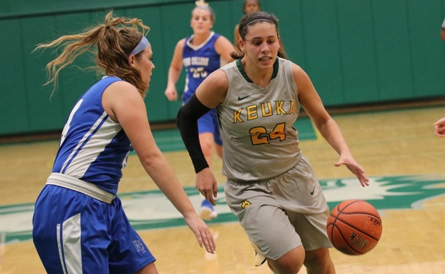 Lauren Anten (24) led Keuka College with 15 points on Wednesday -- Photo by Chey Bennett