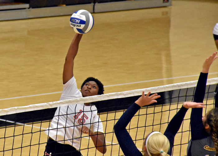 Bria Rochelle led Huntingdon with 16 kills and 27 digs in Wednesday's matches with Tuskegee and AUM. (Photo by Wesley Lyle)
