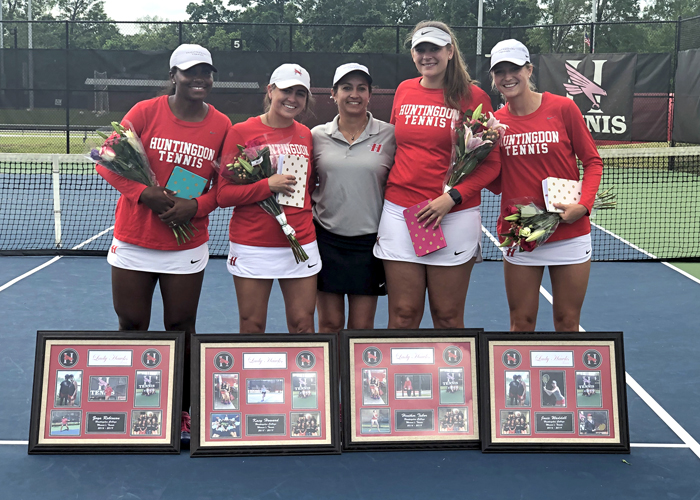 The Huntingdon women's tennis team recognized its seniors during Senior Day on Saturday. (Photo by Vic Jerald)