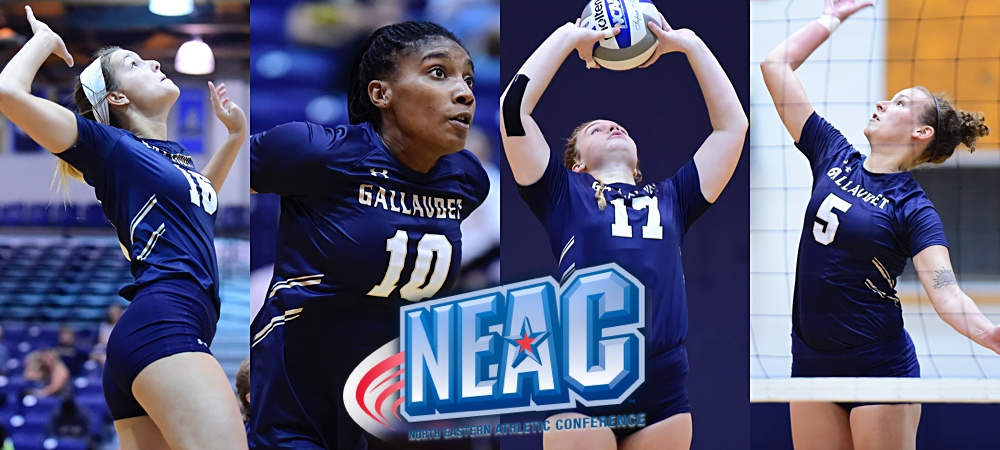 Gallaudet's four honorees picked to the All-NEAC team. A NEAC logo is in the middle of the four action shots.