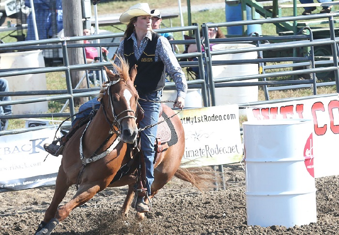 Pearl River sophomore Chelsey Johnson of Poplarville competes in barrel racing during a rodeo last season. Johnson is one of several returning riders for the Wildcats. (Photo courtesy of Jennifer Morgan)