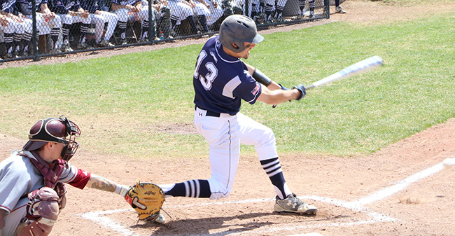 Joey Maker '18 drives a ball during a game versus Vassar College at Gillespie Field.