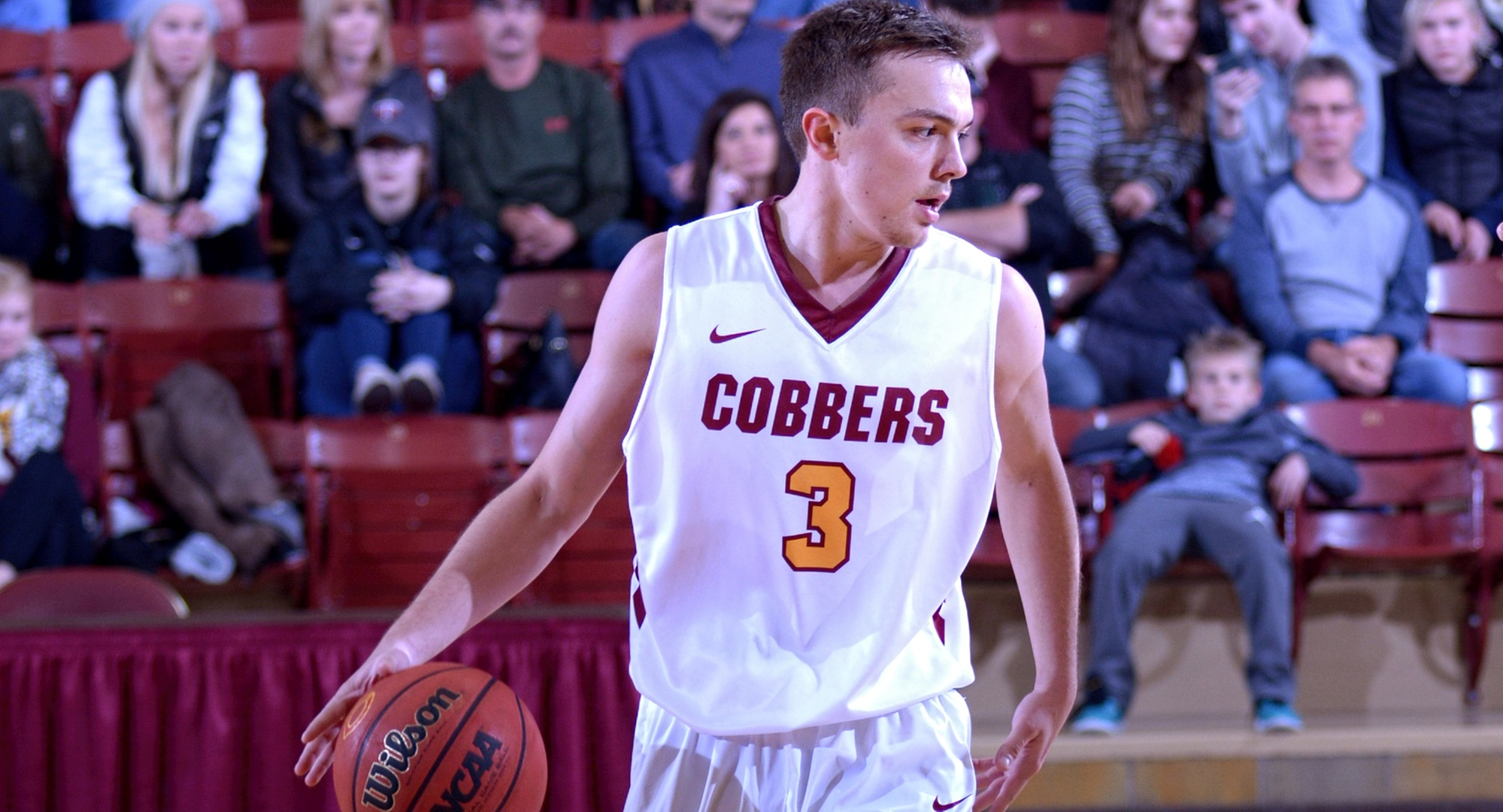 Senior Zach Kinny hit a 3-pointer with .02 seconds left to go to give the Cobbers a 74-73 win over St. John's. Kinny also had 10 rebounds and six assists.