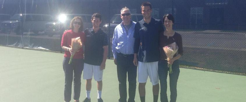 Seniors Adam Brown and Evan Berner and their families before the Senior Day match (Photo by Marni Friedman '04)