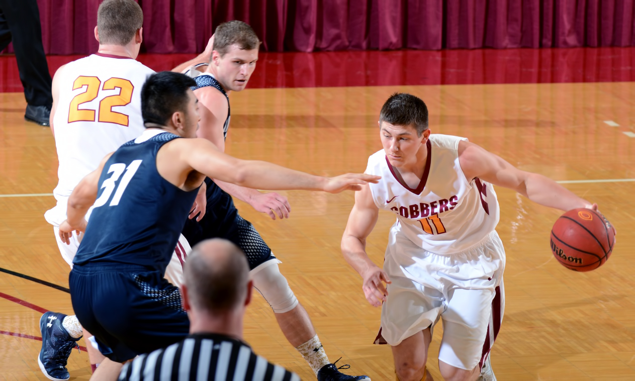 Dylan Alderman scored 16 points, grabbed grabbed seven rebounds and dished out five assists in the Cobbers' overtime win at Macalester.