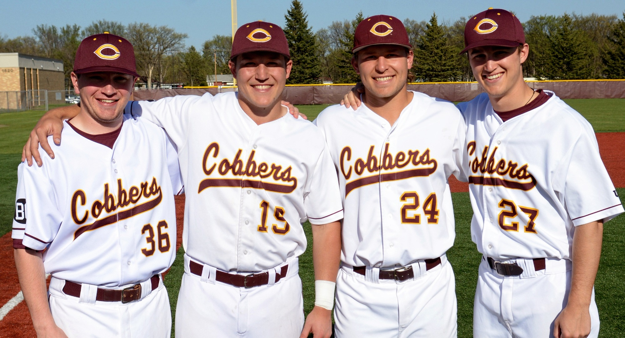 The Cobber seniors (L-R) Nate Hinkemeyer, Cody Rahman, Joe Hallock and Grant Vagle were honored before the doubleheader with St. John's.