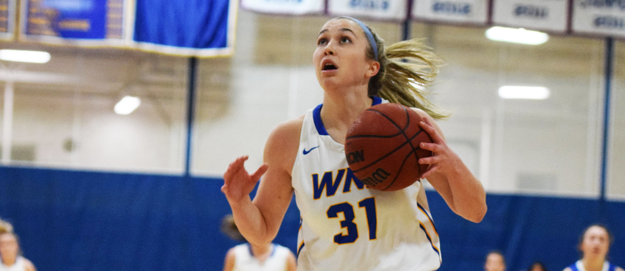 Junior Meghan Orbann scored 15 points in Western New England's 63-54 loss to UNE on Saturday. (Photo by Rachael Margossian)