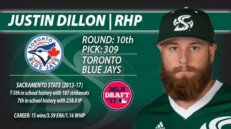 JUSTIN DILLON SELECTED BY THE TORONTO BLUE JAYS IN THE 10TH ROUND