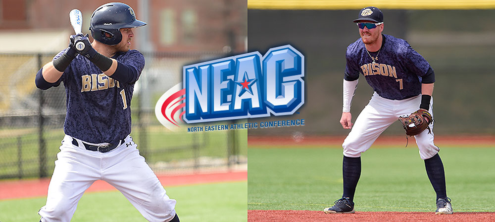 Kyle Gumm batting (left) and Cameron Upton (right) in the field with a NEAC logo in the middle of the picture.