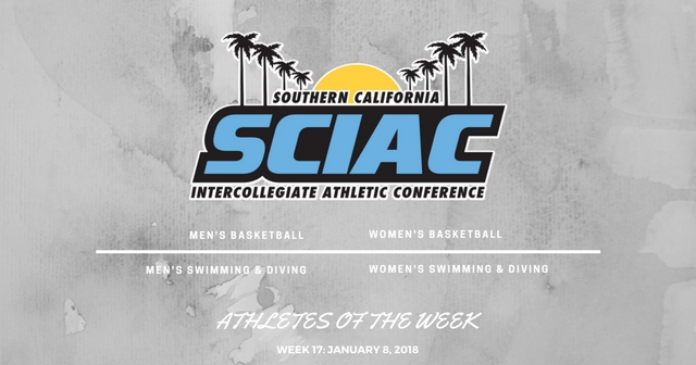 SCIAC Athletes of the Week: January 8, 2018