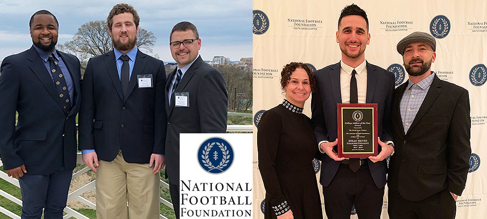 Gallaudet's NFF chapter award winners. Left side is Everett Polzin along with two GU coaches. On the right is Dylan Mento and family members.