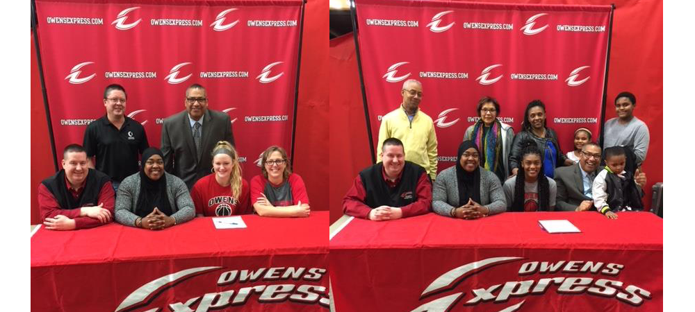 Tori Kopp (left) and Moreina Moore (right) after signing Letters of Intent with their families and the Owens coaches Mike Llanas, Stephen Perry, and Tiffani Blackman.