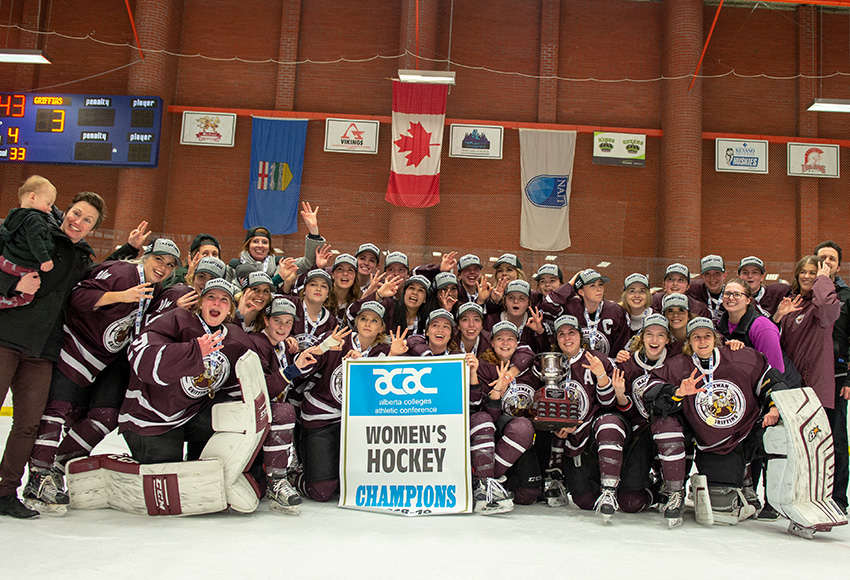 The MacEwan Griffins have become just the third team in ACAC women's hockey history to win three-straight championships (Len Joudrey photo).