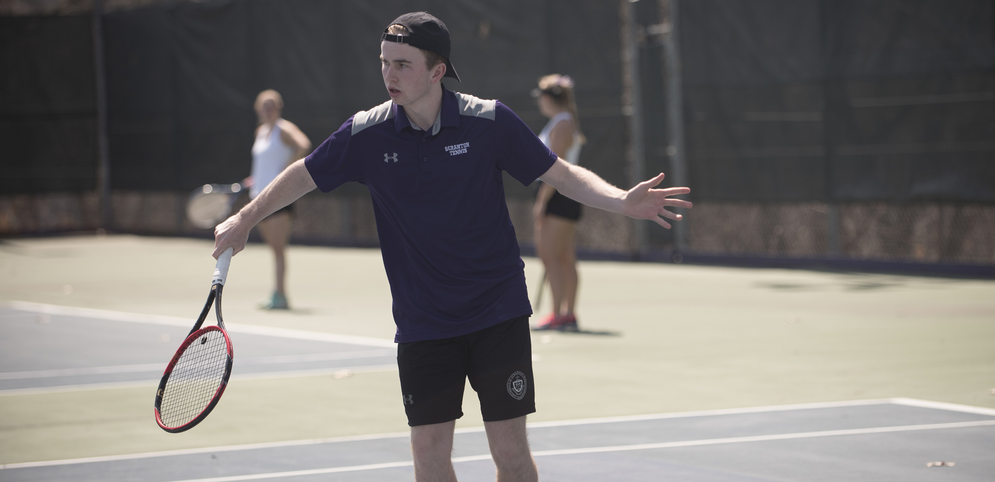 Sophomore Tarquin McGurrin won at number one doubles and singles at Elmira on Saturday in a 9=0 win for the Royals.