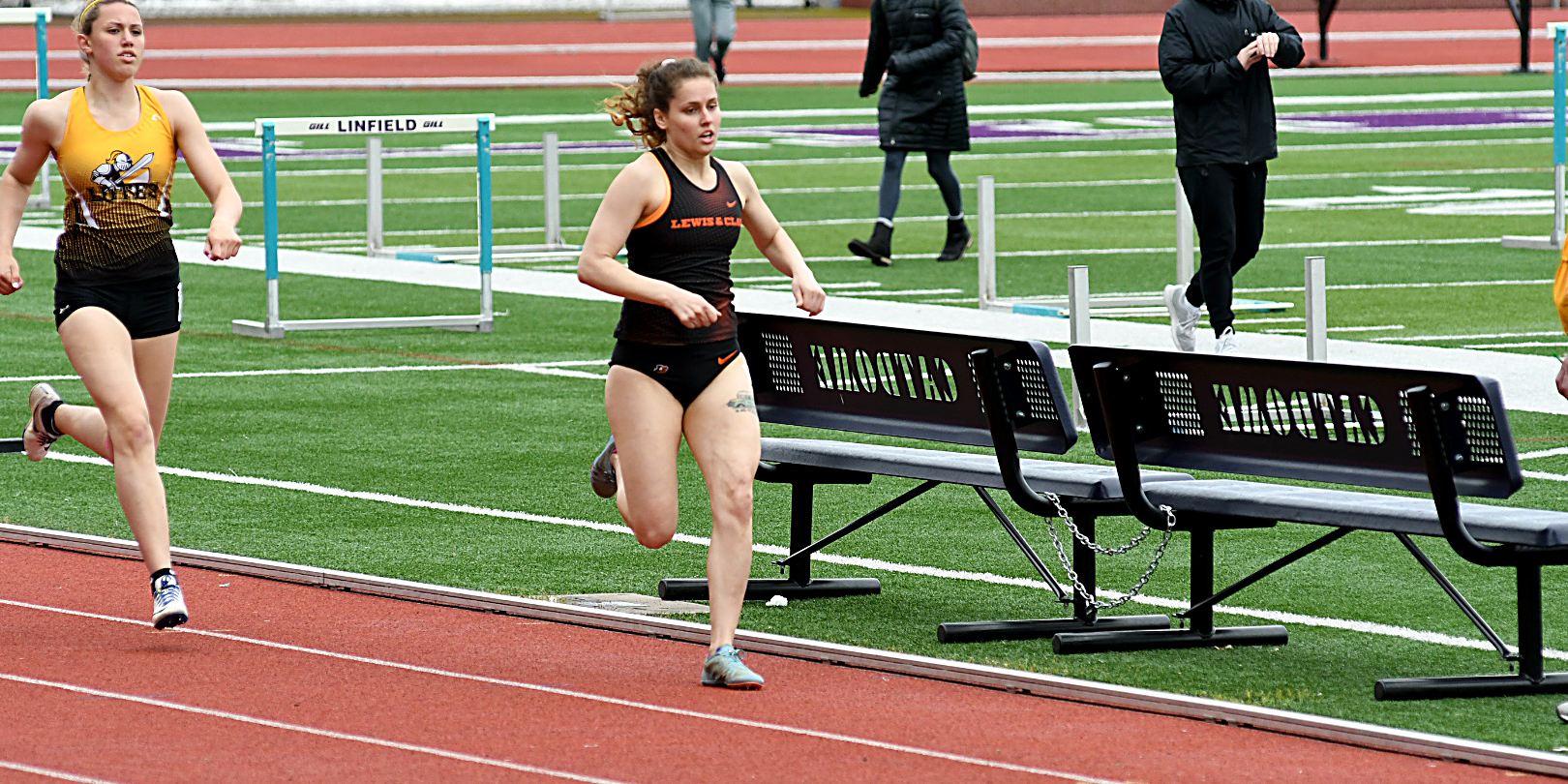 Taylor's win in 800 meters lifts her to fifth place in the heptathlon