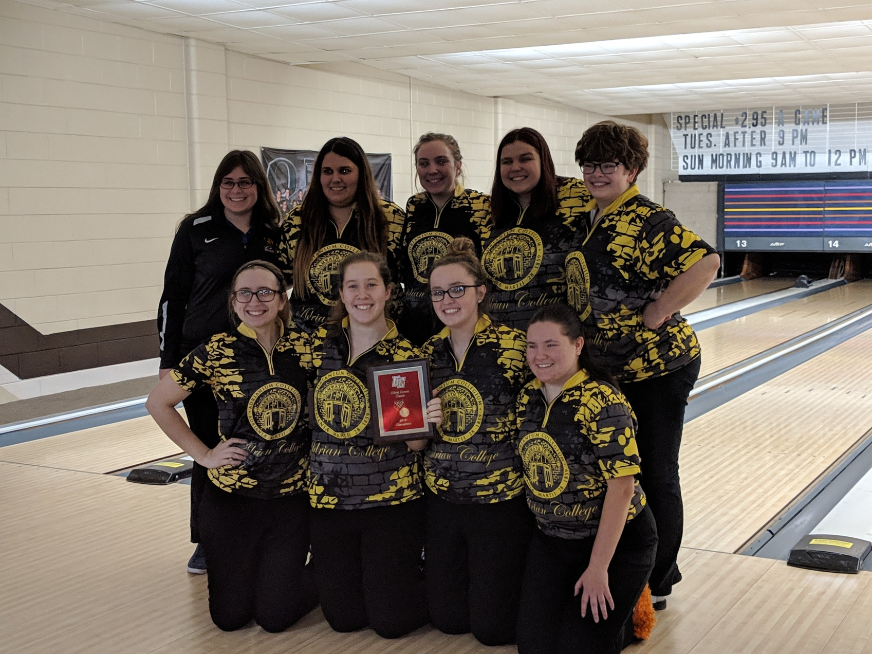 Adrian College is the 2018 Olivet Comets Classic women's bowling tournament champion. (Photo provided)
