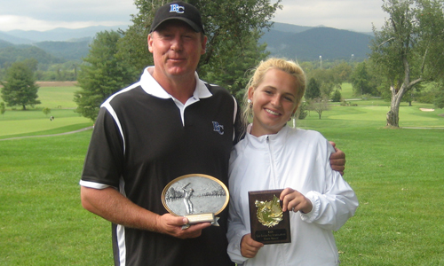 Klochkova with Coach Nelson after winning the 2008 Glenn Cannon Fall Invitational.