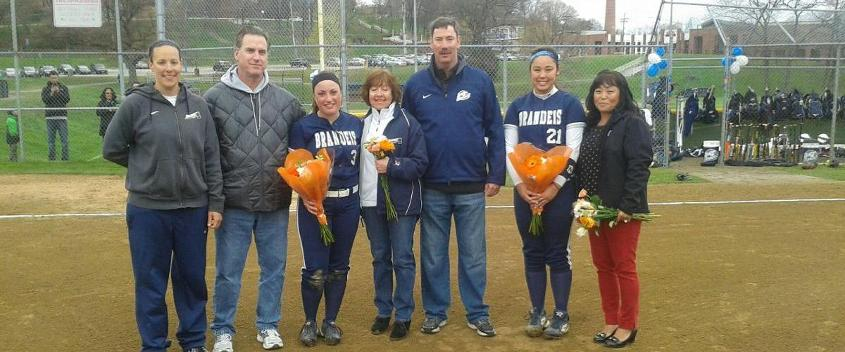 Softball seniors Leah McWilliams and Melissa Nolan were honored before the game with Emerson