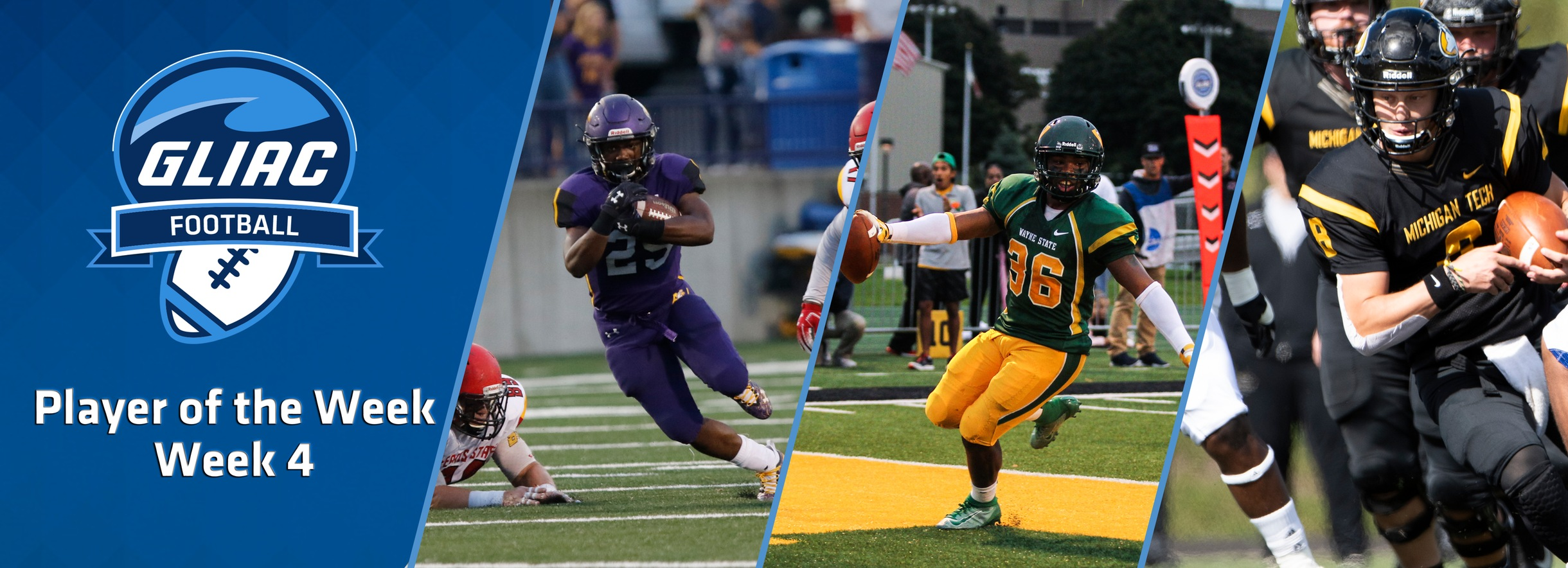 AU's Washington, WSU's Eggleston & MTU's Ark, Named GLIAC Football Players of the Week