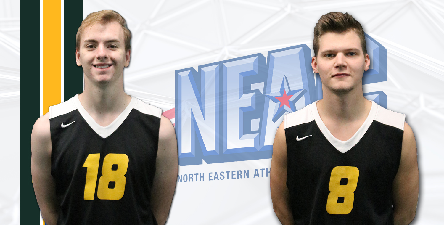Brad McKnight (left) was named NEAC Player of the Week and Seth Welker (right) was named NEAC Defensive Player of the Week on Tuesday