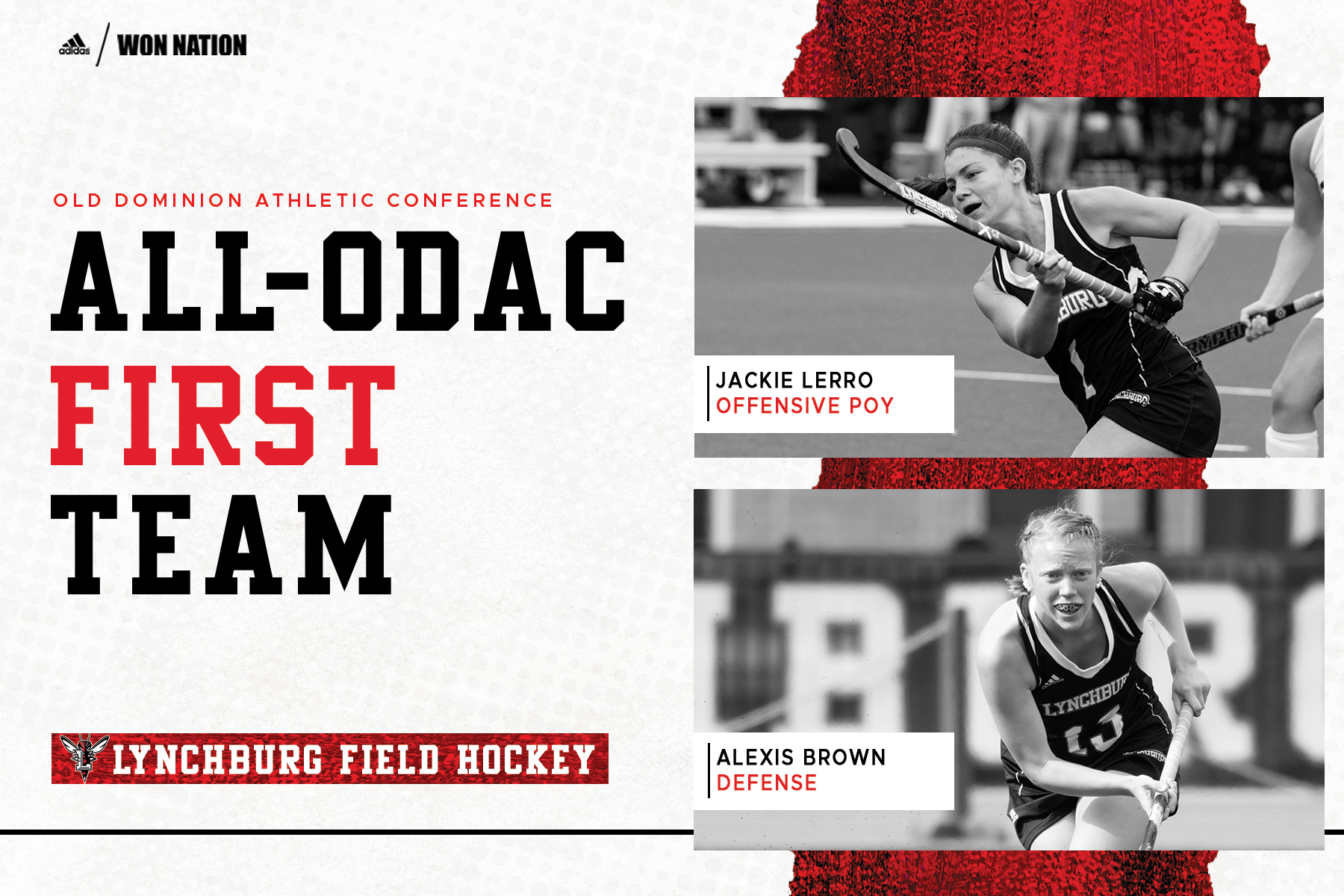 All-ODAC field hockey graphic with grayscale photos of first-team players Jackie Lerro and Alexis Brown framed at right