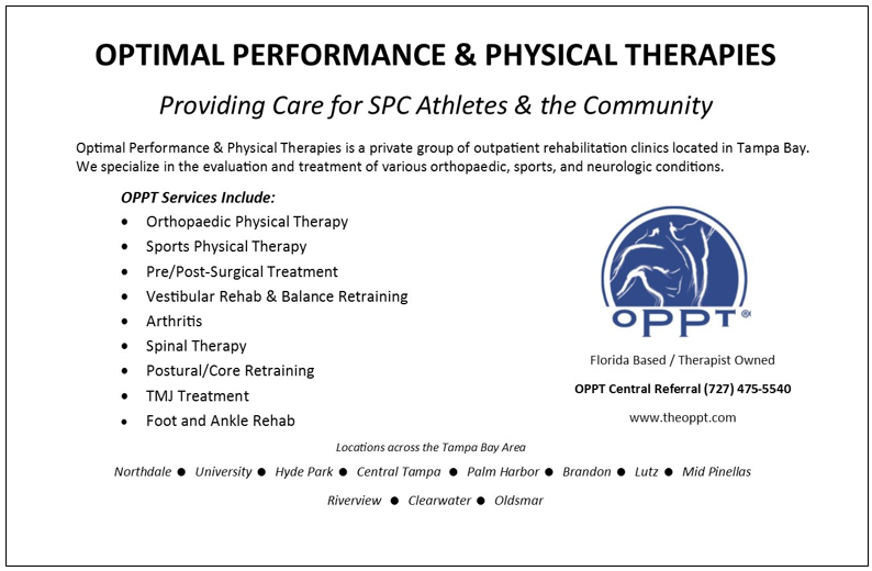 Optimal Performance & Physical Therapies - Providing Care for SPC Athletes & the Community. OPPT Central Referral - 727-475-5540. www.theoppt.com